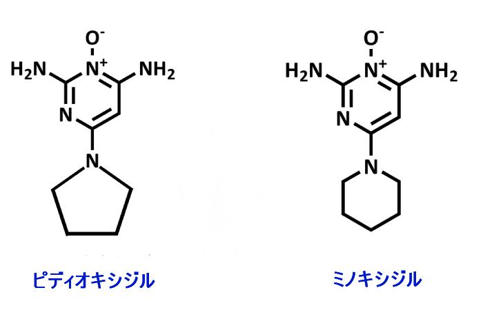 ピディオキシジルとミノキシジルの分子構造