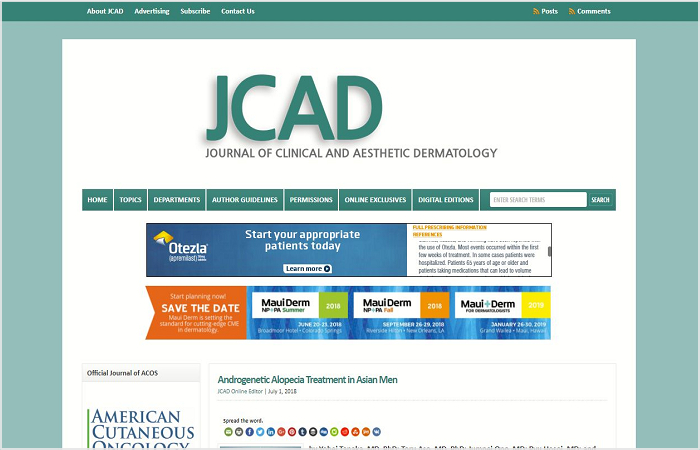 JCAD(The Journal of Clinical and Aesthetic Dermatology)の公式サイト