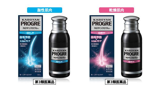 カロヤンプログレの脂性肌向けと乾燥肌向け(第3類医薬品)の外箱・ボトルデザイン