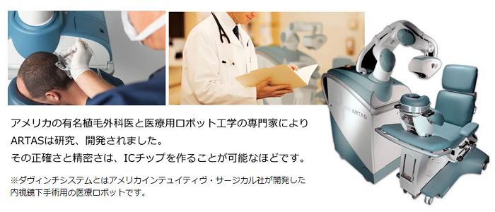湘南美容クリニックのARTAS植毛の施術風景と専門機器。アメリカの有名植毛外科医と医療用ロボット工学の専門家によって、ARTASは研究・開発されました。その正確さと精密さはICチップを作ることが可能なレベルです。 ※ARTAS植毛で使用するダヴィンチシステムとは、アメリカインテュイティヴ・サージカル社が開発した内視鏡下手術用の医療ロボットです。